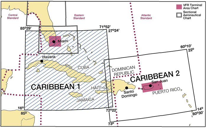 a15ee02bdbe Caribbean Area of Coverage. Caribbean Charts are designed for VFR and  provide aeronautical ...