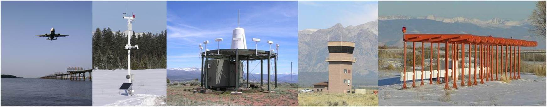 Examples of non-federal systems. From left to right: aircraft flying over an approach lighting system, Automated Weather Observing System, V H F Omni-Directional Ranges, air traffic control tower, insturment landing system
