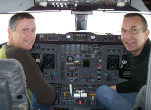 Mission pilots Brett VanMeter (left) and Bill Geiser
