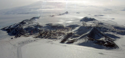McMurdo station photographed from the air during an FAA flight check mission
