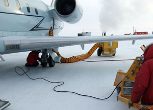 Portable heaters were used to keep the aircraft warm and ready to fly throughout its mission to the South Pole